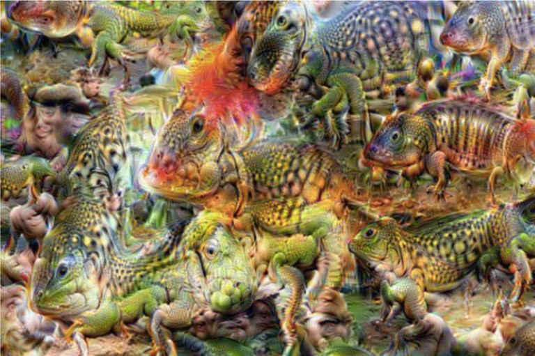 Image générée par DeepDream à partir d'un bruit blanc. Leonid Berov, 2016. Berov, Leonid. 2016. « Visual Hallucination For Computational Creation »