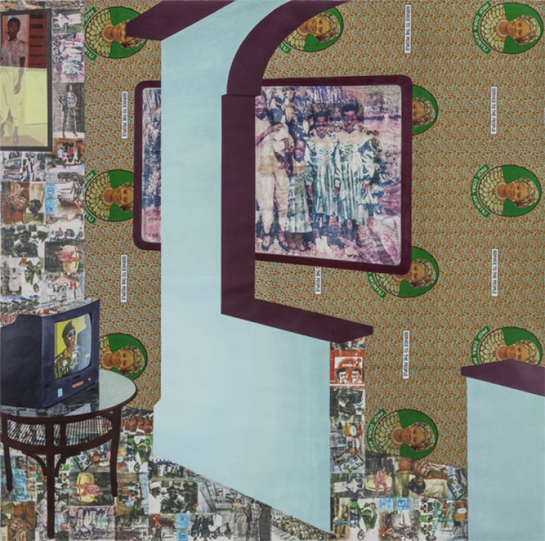 Njideka Akunyili Crosby, *I See You In My Eyes*, 2015, acrylique, transferts, crayon de couleur, collage et tissus, 213 x 213 cm