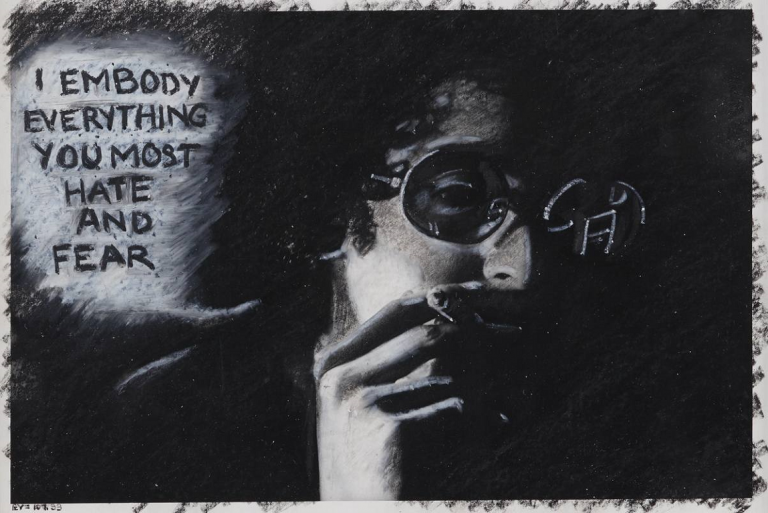 Adrian Piper, *The Mythic Being: I - Embody Everything You Most Hate and Fear*, 1975, crayon gras sur photographie argentique en noir et blanc
