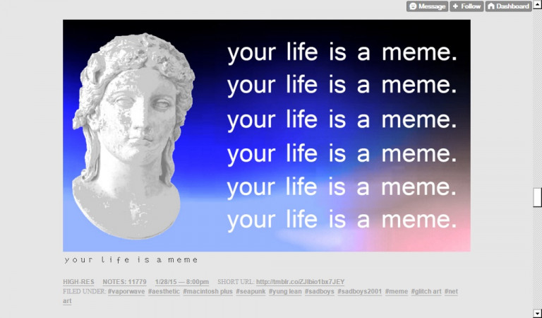 *Your life is a meme*, capture d'écran du site dadscream.tumblr.com